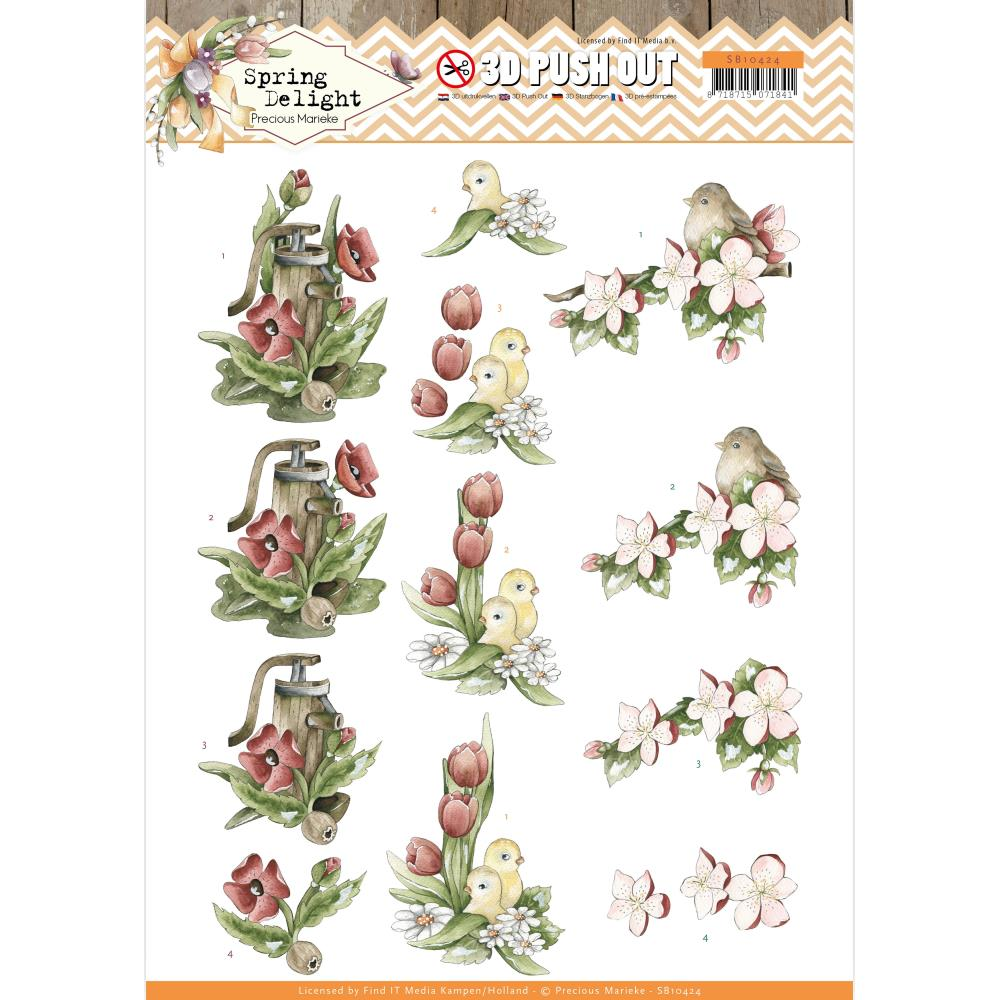 Find It Trading Precious Marieke Punchout Sheet Red Flowers, Spring Delight