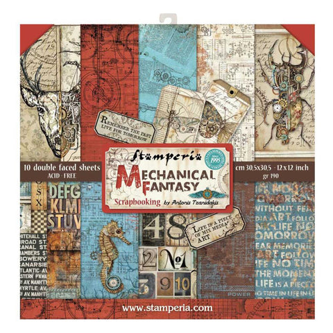 Stamperia -Double-Sided Paper Pad 12X12. 10 per pack-Mechanical Fantasy