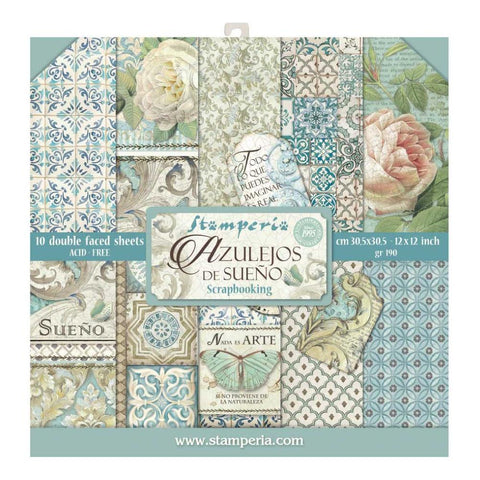 Stamperia Double-Sided Paper Pad 12 inch X12 inch 10 pack Azulejos