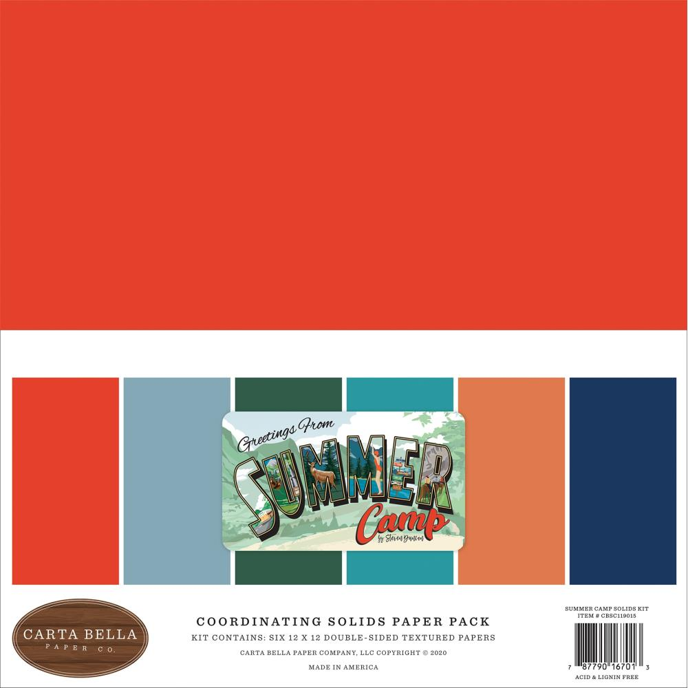 Carta Bella Double-Sided Solid Cardstock 12X12 6/Pkg Summer Camp, 6 Colors