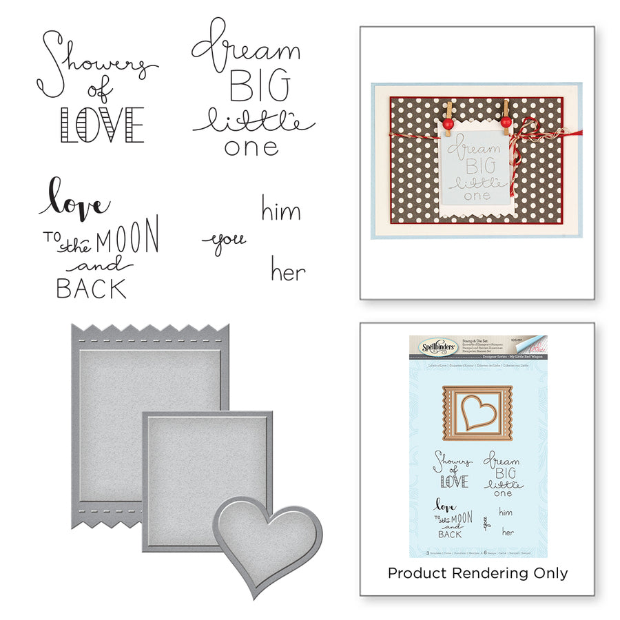 Spellbinders Stamp & Die Set By Debi Adams My Little Red Wagon-Labels Of Love