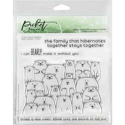 Picket Fence Studios 6X6 Stamp Set Bear Family