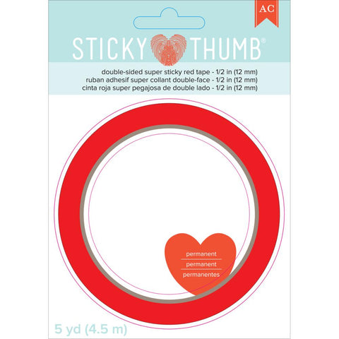 We R Memory Keepers - Sticky Thumb Double-Sided Super Sticky Red Tape .5 inch X5yd