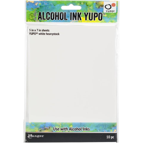 Tim Holtz Alcohol Ink White Yupo Paper 144lb 10 pack 5X7