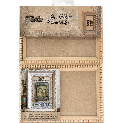 Idea-Ology Mini Wooden Framed Panels 4 pack Natural 4.5 inch X6.5 inch For 4 inch X6 inch Photos