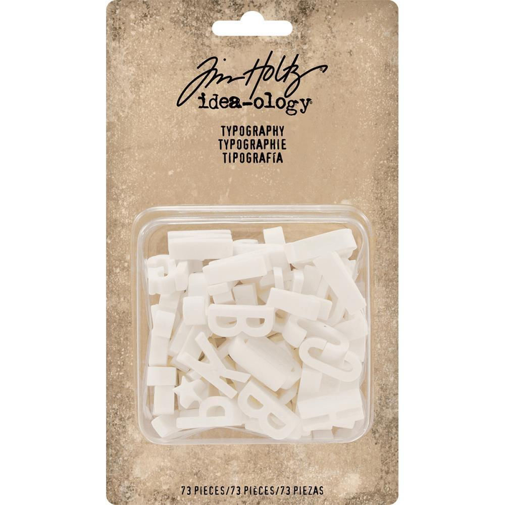 Tim Holtz - Idea-Ology Typography Plastic Alphabet 73 pack White .75