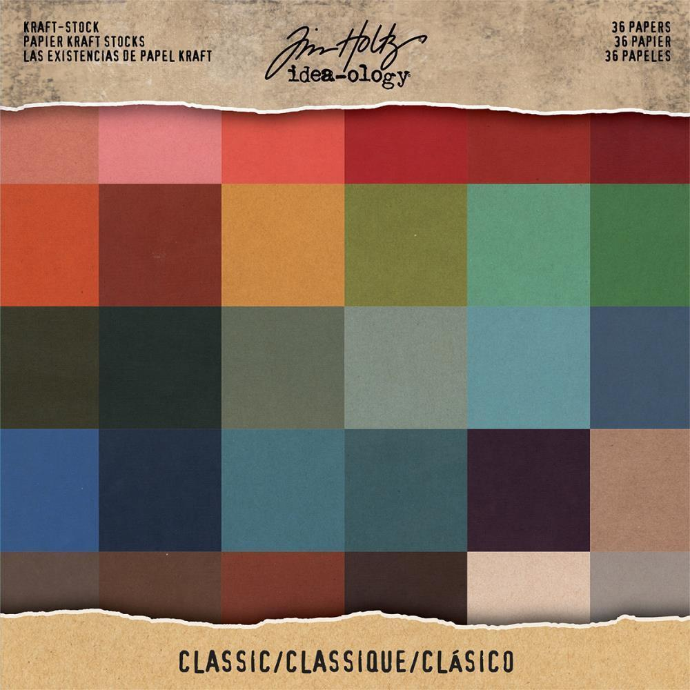 Tim Holtz - Idea-Ology Kraft Stock Cardstock Pad 8X8 36 pack Classic