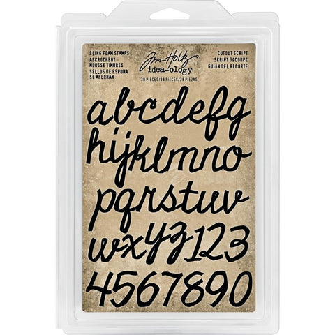 Idea-Ology Cling Foam Stamps 38 pack Cutout Script Alpha & Numbers .75 inch -1.25 inch