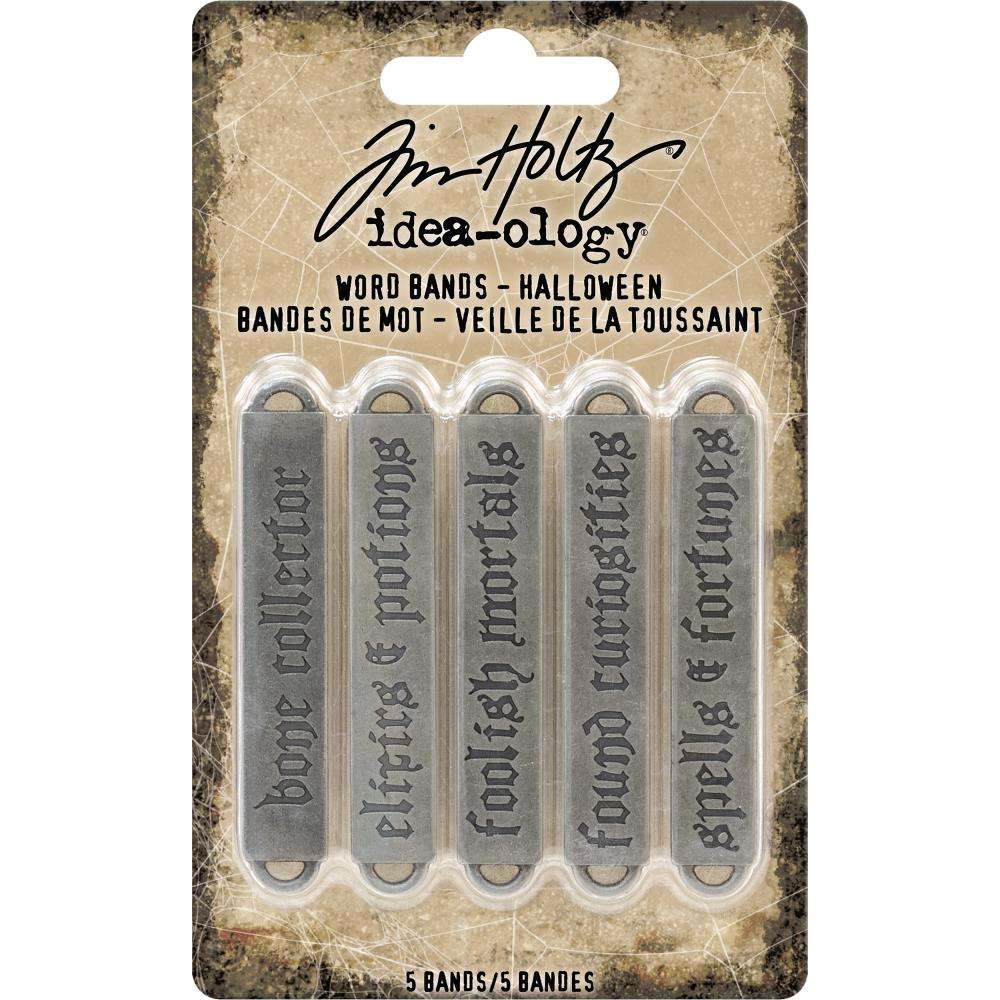 Idea-Ology Metal Word Bands .375 inch X2.375 inch 5 pack Antique Nickel Halloween