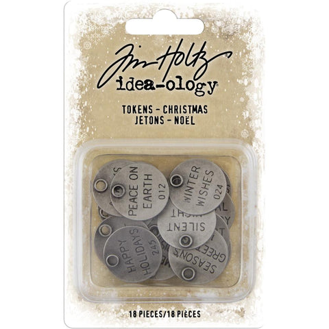 Idea-Ology Metal Typed Tokens 18/Pkg Antique Nickel Christmas Words 1