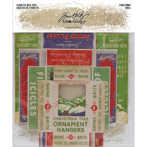 Idea-Ology Vignette Box Tops 5/Pkg Christmas 2.25X3.25 To 4X5.5