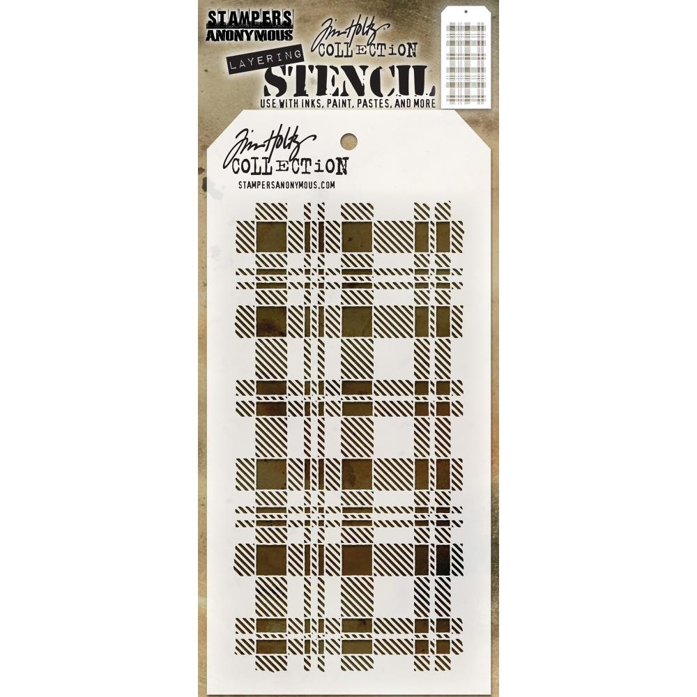Tim Holtz Layered Stencil 4.125 inch X8.5 inch Plaid