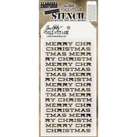Tim Holtz Layered Stencil 4.125 inch X8.5 inch Merry Christmas