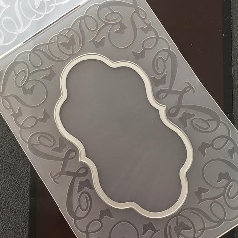 Poppy Crafts Emboss & Cut Embossing Folder - Label frame with butterflies and vine design