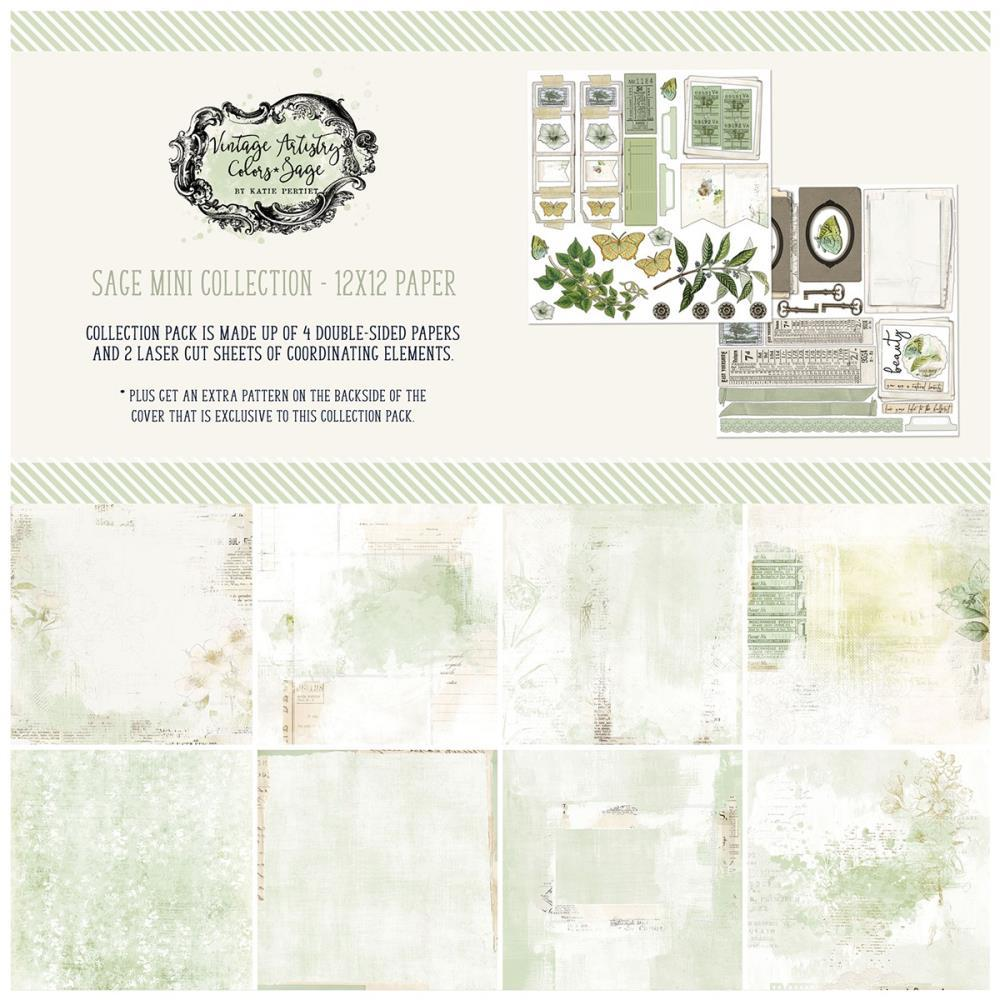49 And Market Collection Pack 12in x 12in - Vintage Artistry Sage