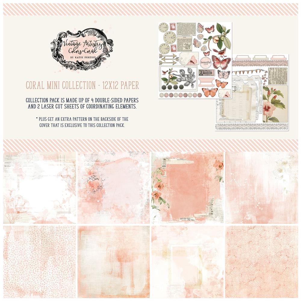 49 And Market Collection Pack 12in x 12in - Vintage Artistry Coral
