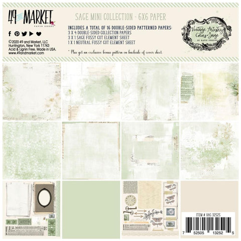 49 And Market Collection Pack 6in x 6in - Vintage Artistry Sage