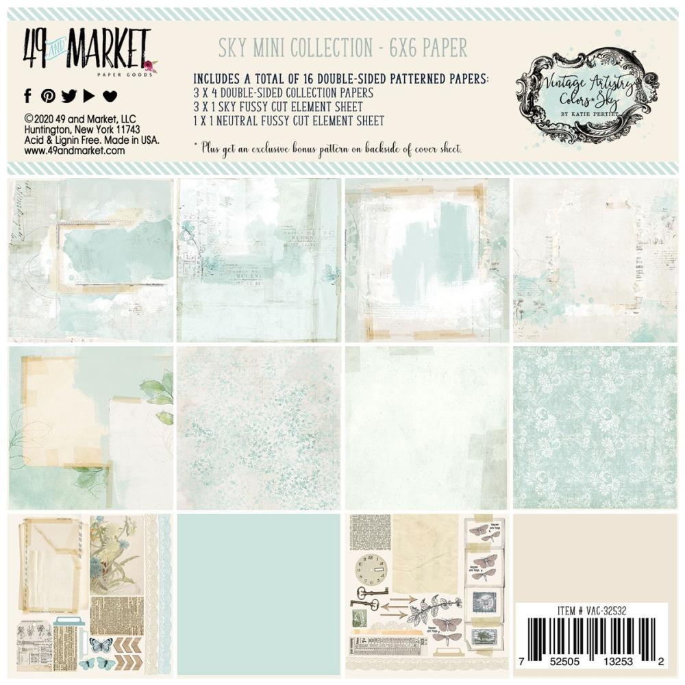 49 And Market Collection Pack 6in x 6in - Vintage Artistry Sky