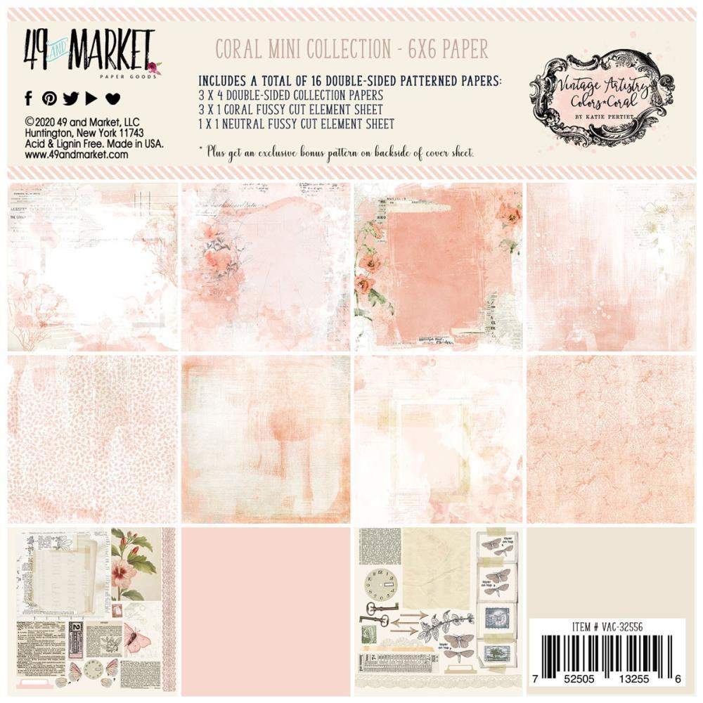 49 And Market Collection Pack 6in x 6in - Vintage Artistry Coral