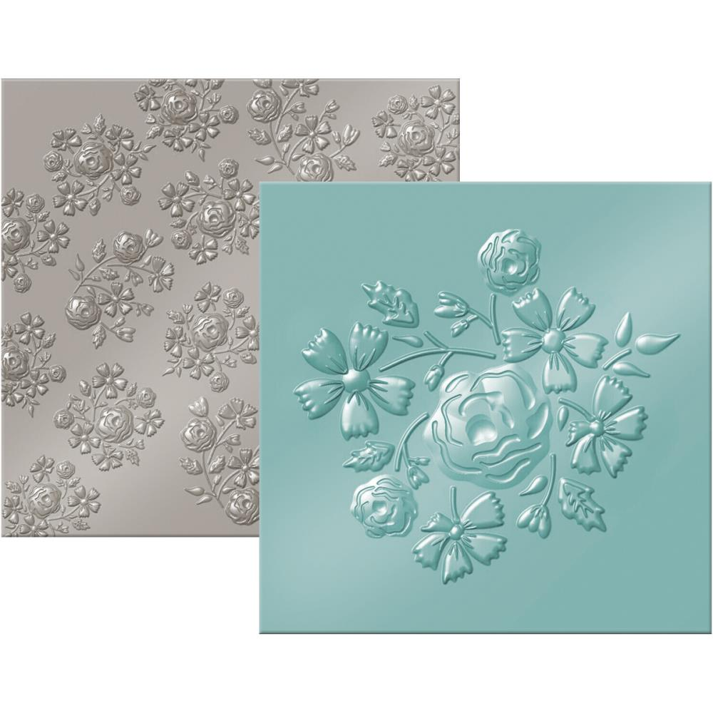 We R Memory Keepers - We R Next Level Embossing Folders 6 inch X6 inch 2 pack Bouquet