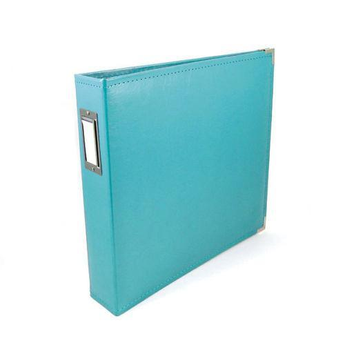 We R Classic Leather D-Ring Album 12 Inch X12 Inch Aqua