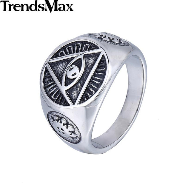 Stainless Steel Silver Illuminati All-Seeing eye Ring