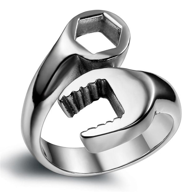 Stainless Steel Silver Spanner Wrench Ring
