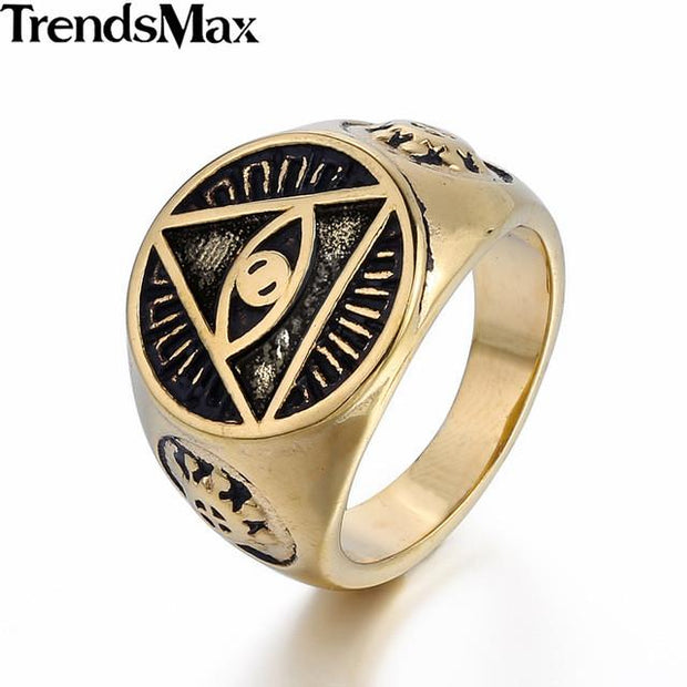 Stainless Steel Gold Illuminati All-Seeing eye Ring