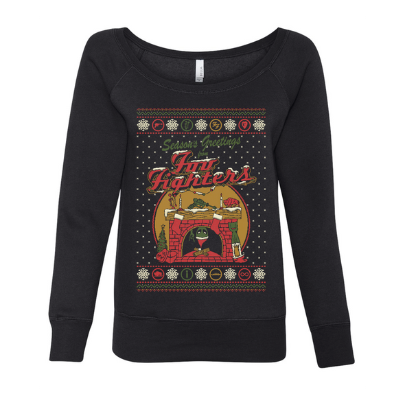 Women's Holiday Fireplace Crewneck - Foo Fighters UK