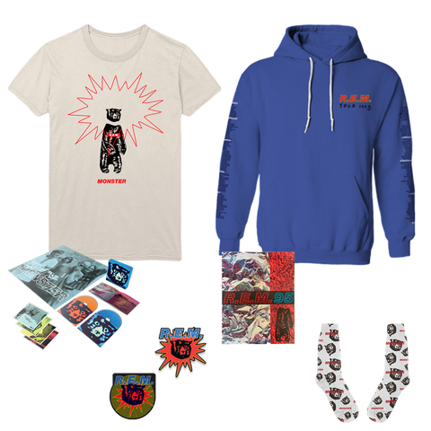 Monster 25th Anniversary + T-Shirt + Program + Socks + Hoodie + Patches - REM UK