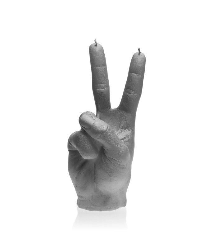 Peace Symbol Fingers Candle Gray