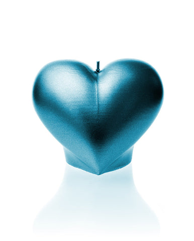 Heart Candle Blue Metallic