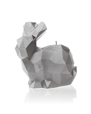 Rabbit Poly Candle Silver
