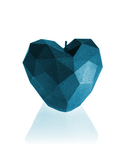 Heart Poly Candle Blue Metallic