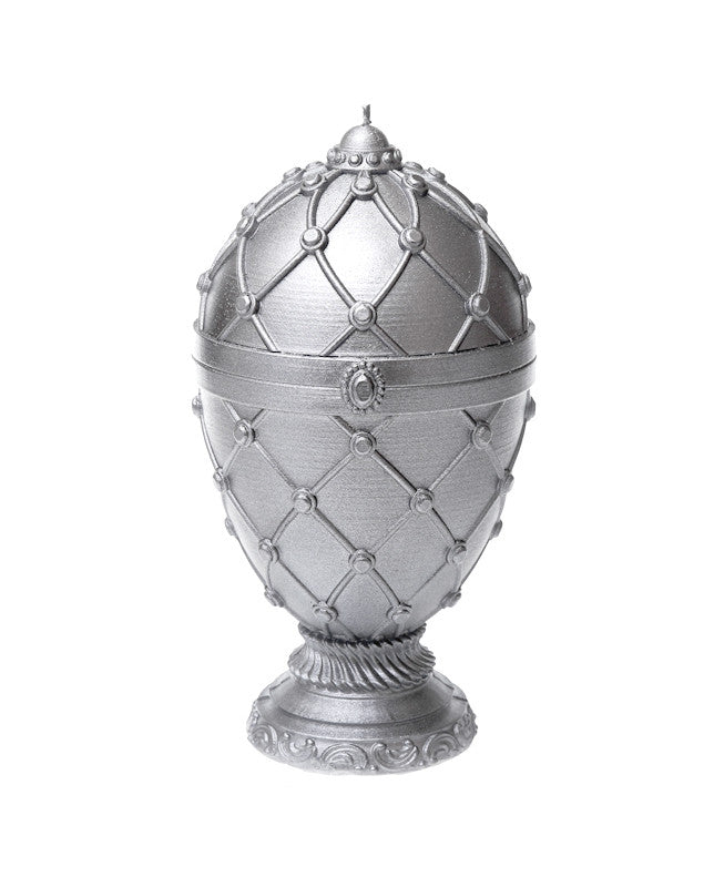 Large Faberge Egg Candle Silver