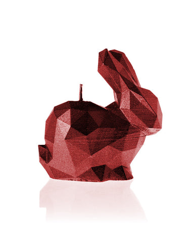Bunny Poly Candle-Red Metallic