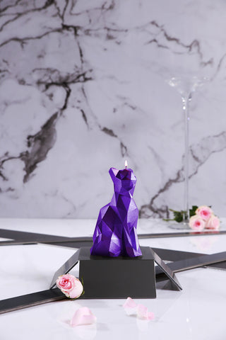 Cat Poly Candle Violet Metallic
