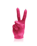 Peace Symbol Fingers Candle-Dark Pink