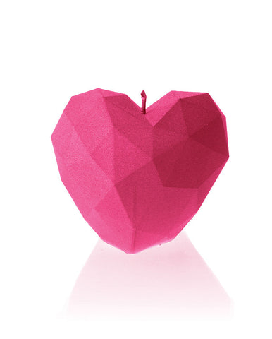 Heart Poly Candle Dark Pink