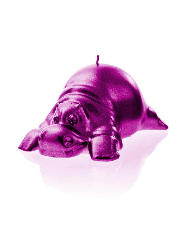Hippo Candle-Pink Metallic