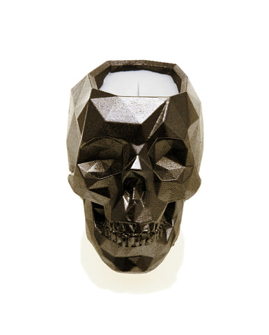 Scented Candle in Concrete Skull Vessel