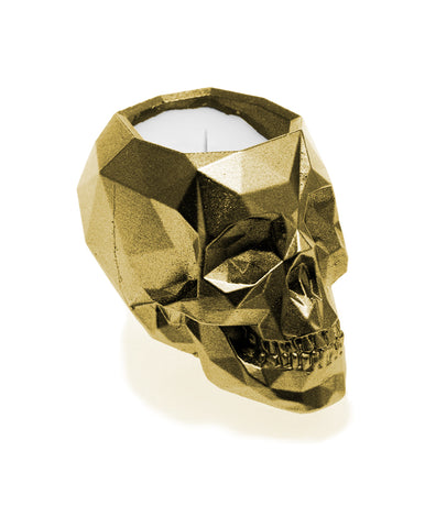 Concrete Scented Candle Skull- Gold- Set of 2- Wholesale Exclusive