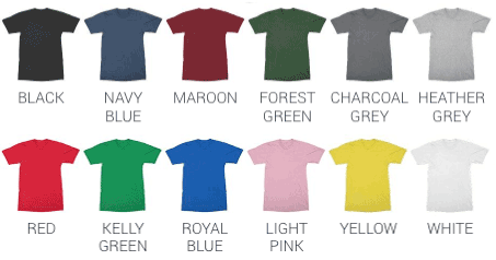 YogaGeek Men's T-Shirt Color Chart