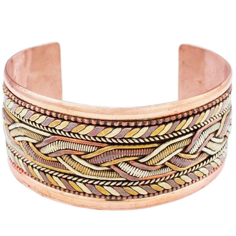 Copper and Brass Bracelet: Healing Cuff - DZI (Fair Trade)