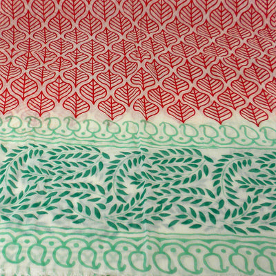 Red and Green Leaf Design Cotton Scarf - Asha Handicrafts (Fair Trade)