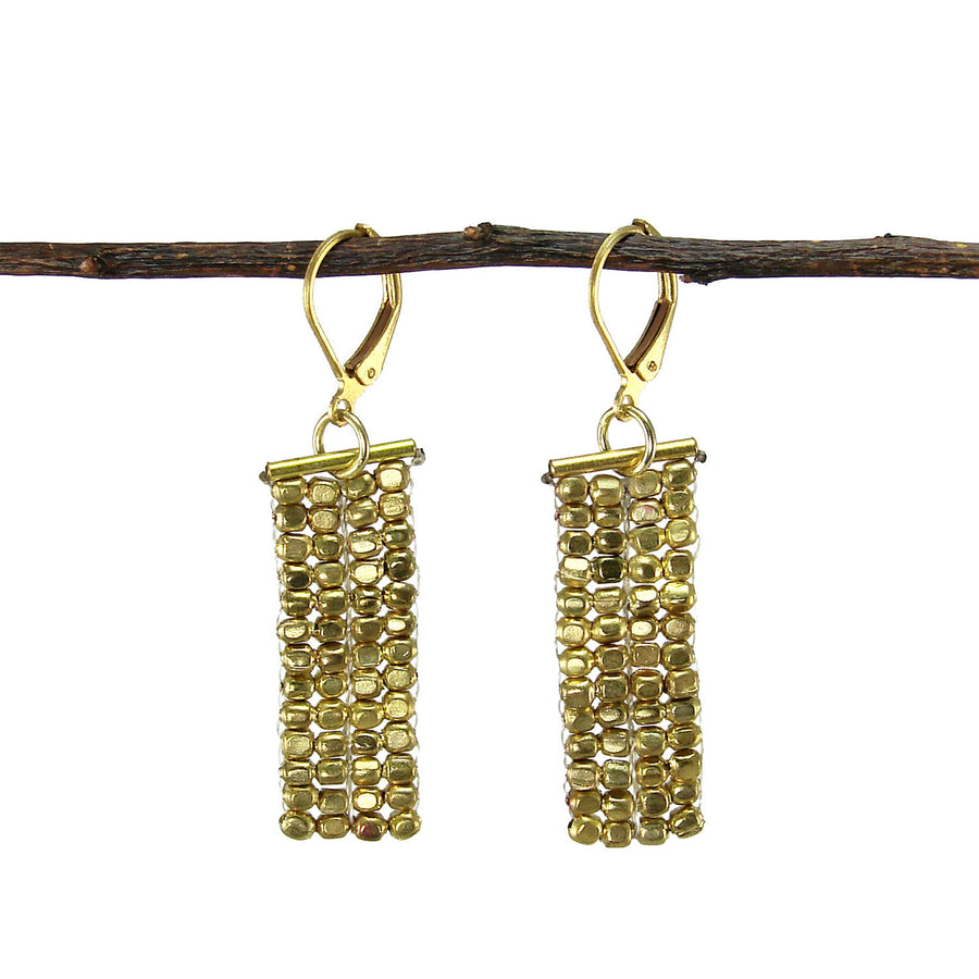 Rectangle Cubist Earrings - gold Handmade and Fair Trade