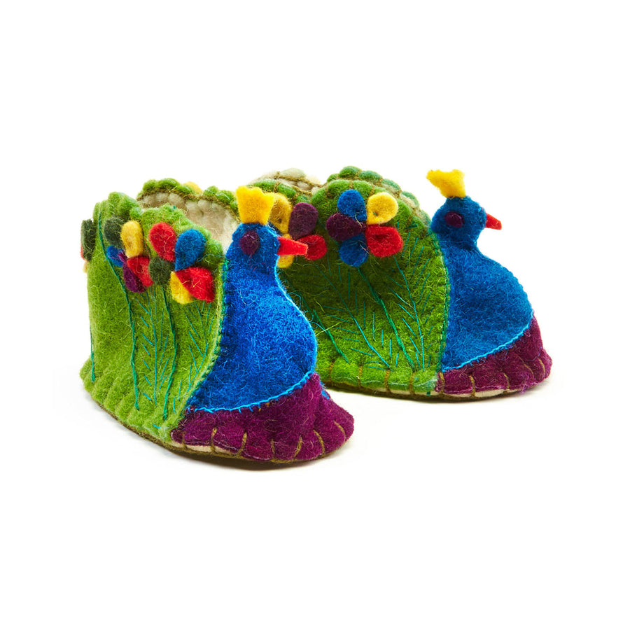 Peacock Zooties Baby Booties - Silk Road Bazaar (Fair Trade)