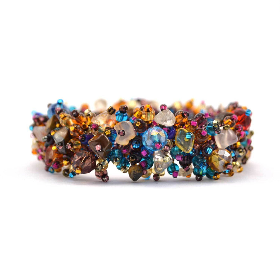 Magnetic Stone Caterpillar Bracelet Earth Multi - Lucias Imports (Fair Trade)