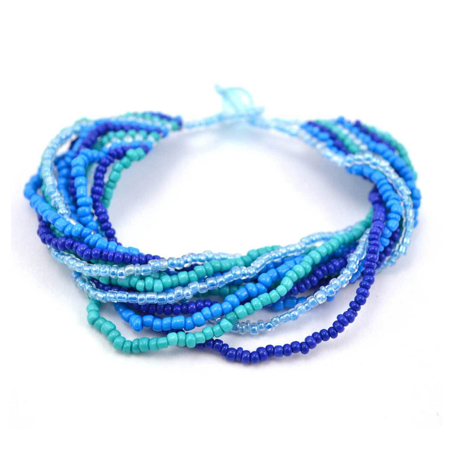 12 Strand Bead Bracelet - Blue/Green - Lucias Imports (Fair Trade)