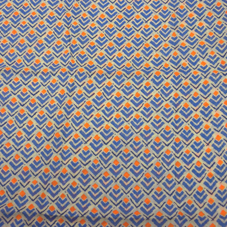 Blue and Orange Geometric Cotton Scarf - Asha Handicrafts (Fair Trade)